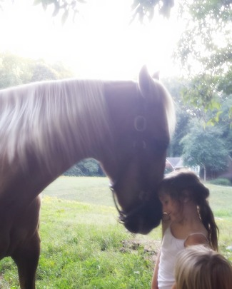New Mare came from a bad situation but she quickly learned that children often come with treats.